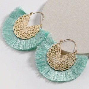 Gold Tone Sea Foam Green Tassel Earrings